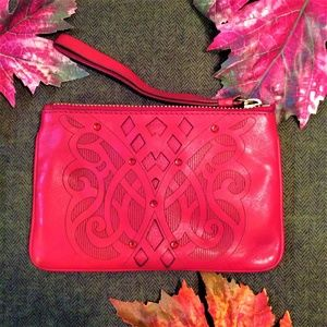 Cole Haan Red Jeweled Burnished Knotwork Wristlet